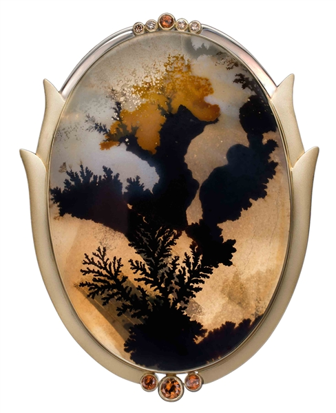 Murphy Design dendritic agate and diamond brooch
