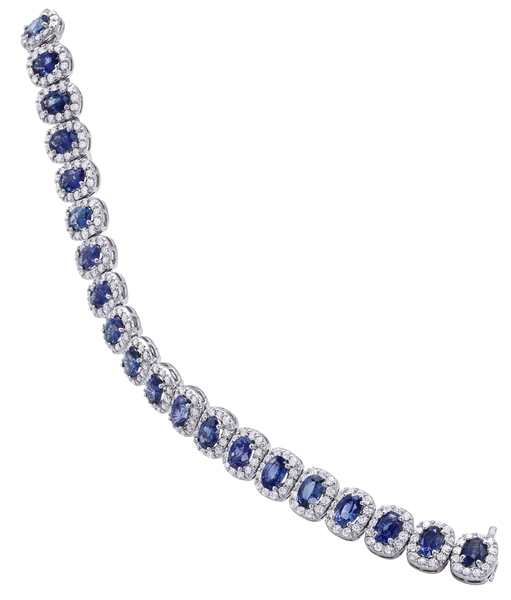 Somerset Mfg. Ceylon sapphire and diamond halo line bracelet