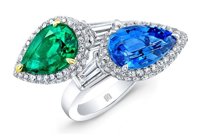 Rahaminov Toi Et Moi emerald and sapphire ring with diamonds