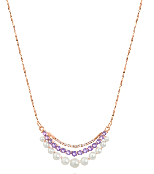 Imperial Pearl amethyst and pearl layered necklace