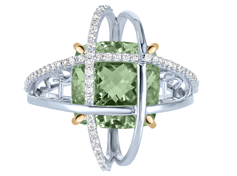 Arya Esha prasiolite and diamond Galaxy ring