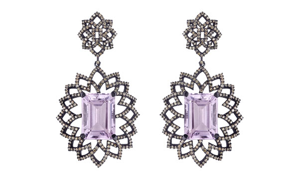 Arya Esha amethsyt and diamond Lava earrings
