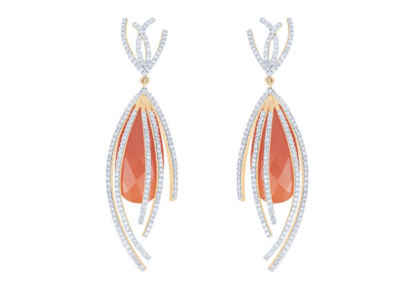 Arya Esha carnelian and diamond Galaxy earrings