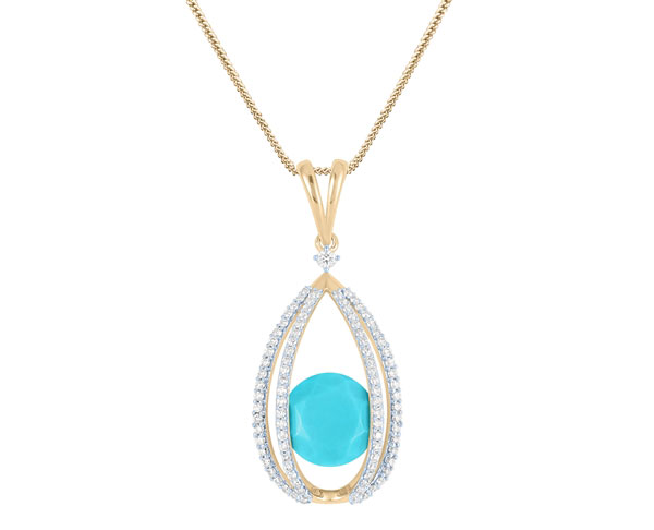 Arya Esha turquoise and diamond Galaxy pendant