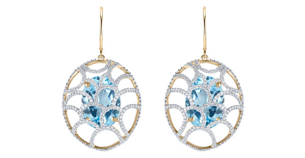 Arya Esha sky blue topaz Galaxy earrings