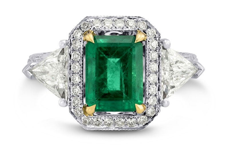 Leibish and Co. emerald-cut emerald and diamond ring
