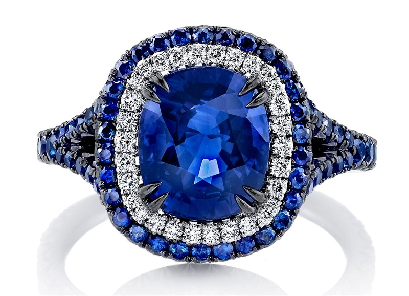 Omi Prive blackened sapphire and diamond ring