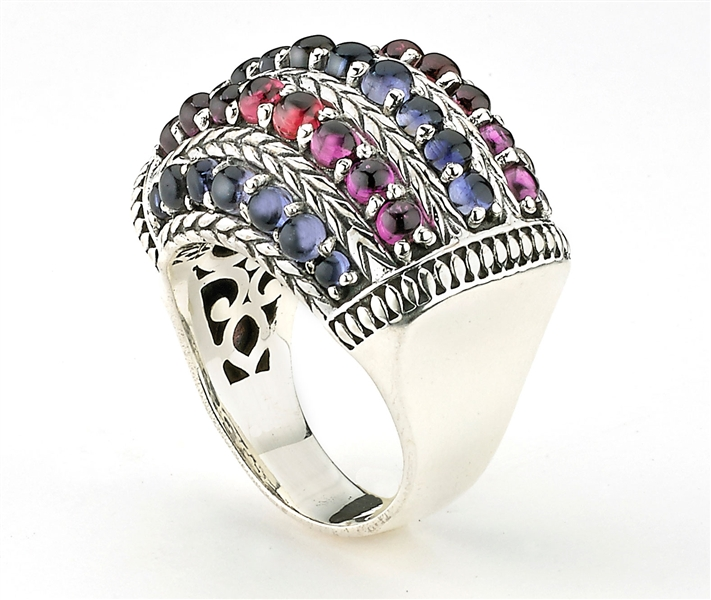 Samuel B Collection iolite and rhodolite cabochon rows ring