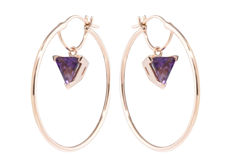 Dada Arrigoni Colors collection trillion amethyst and hoop earrings