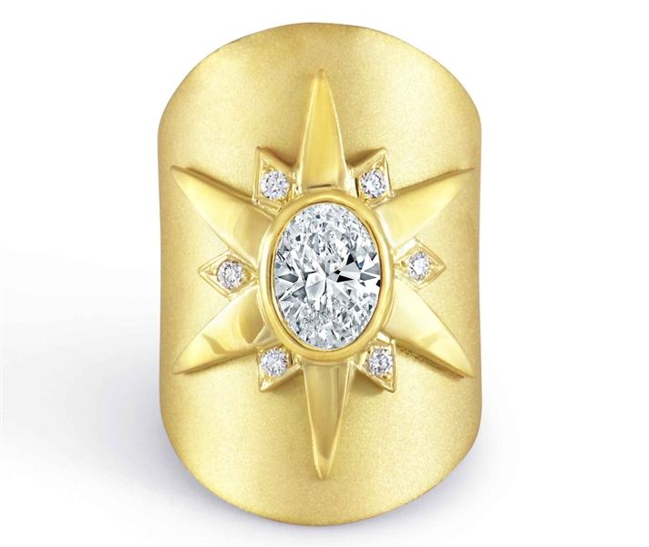 Rahaminov Diamonds Malibu 18 oval diamond starburst ring