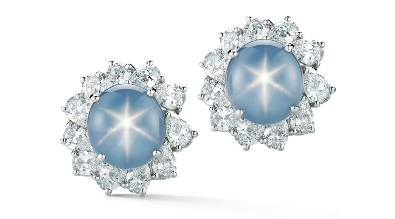 Oscar Heyman platinum star sapphire and diamond earrings