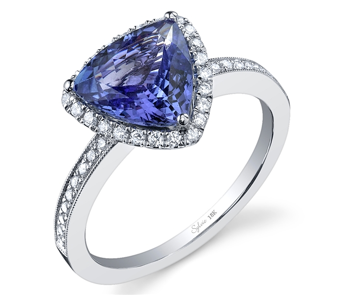 Sylvie Collection tanzanite trillion and diamond ring
