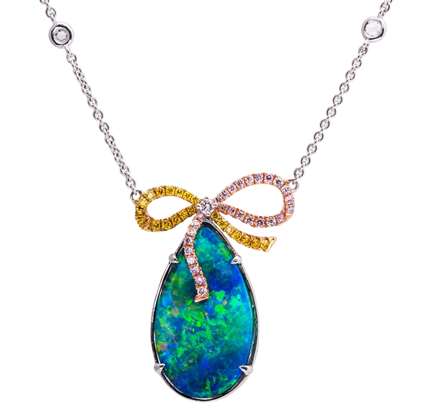 Jye Luxury Collection Boulder opal and bow necklace