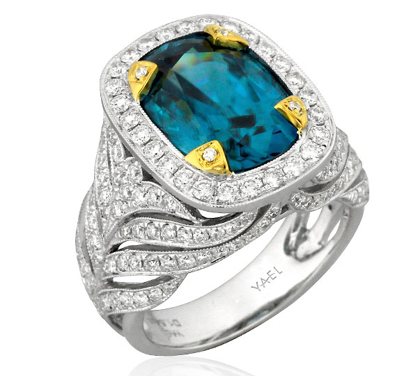 Yael Designs Majestic blue zircon ring