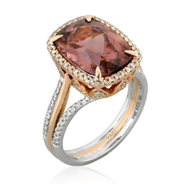 Yael Designs brown zircon and diamond ring