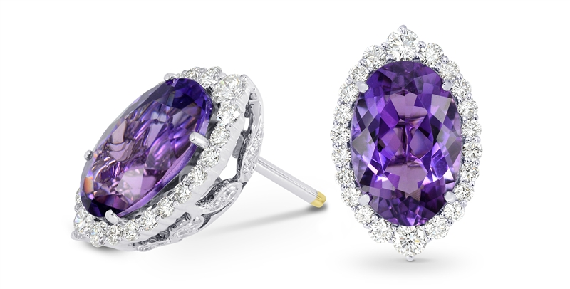Leibish and Co. oval amethyst and diamond earrings