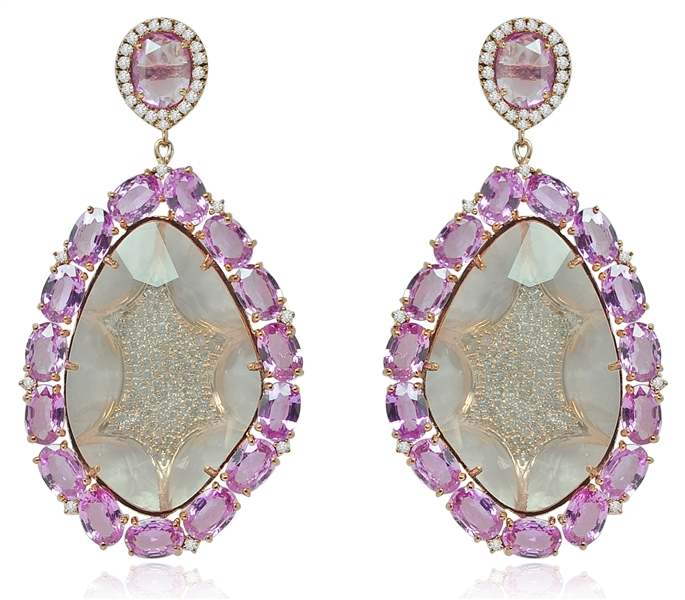 Sutra pink quartz and sapphire drop earrings