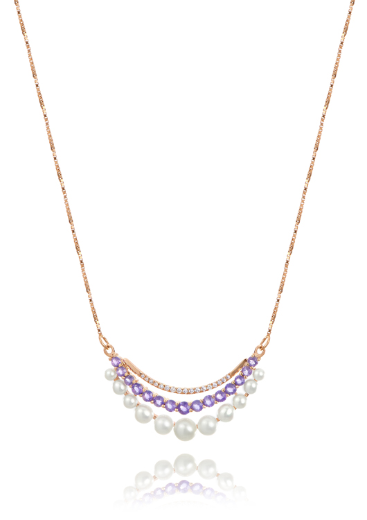 Imperial Pearl's Crescent necklace in 14k rose gold with pearls, amethysts, and diamonds for $875