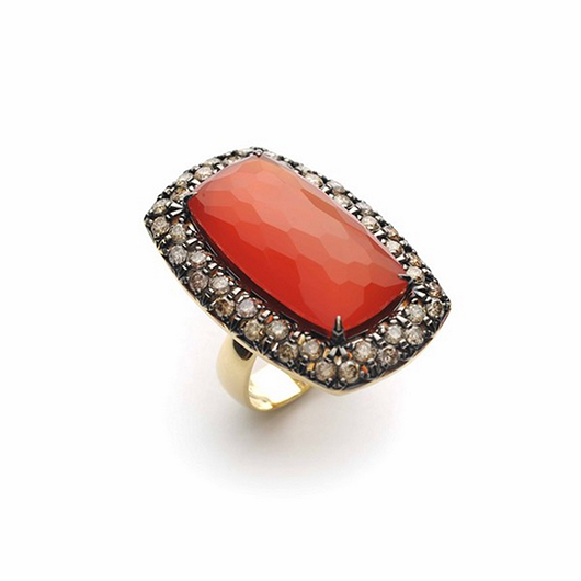 Vancox ring with carnelian and diamonds