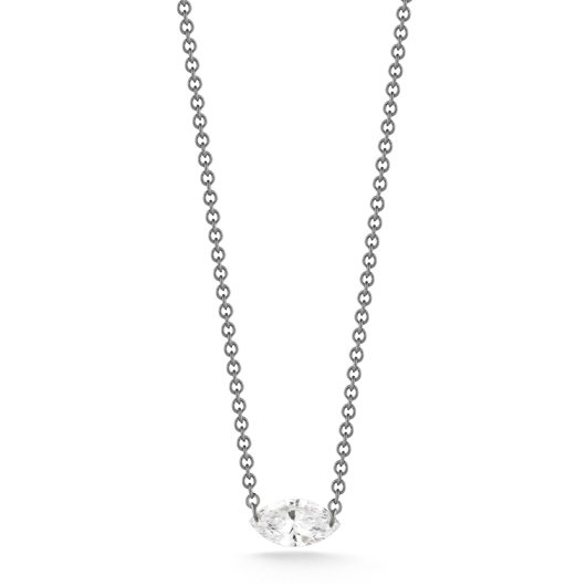 Aero Diamonds Single Kiss necklace in 18k gold with platinum wire by Aero Diamonds for Royal India USA