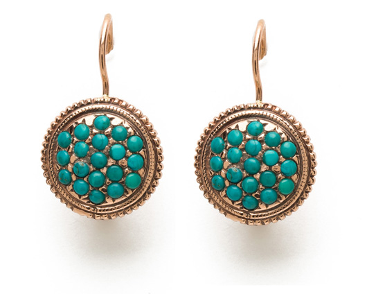 Round Needlepoint drop earrings in 14k rose gold with turquoise by Arik Kastan