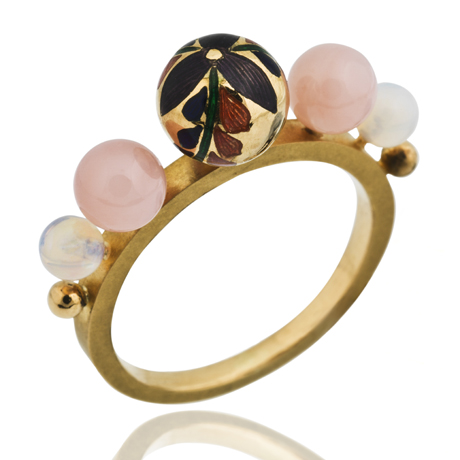 Kimono ring in 23.5 ct. gold with an 18k gold shank, vitreous enamel, white and pink opal, and champagne and yellow diamonds, $4,800; Alice Cicolini