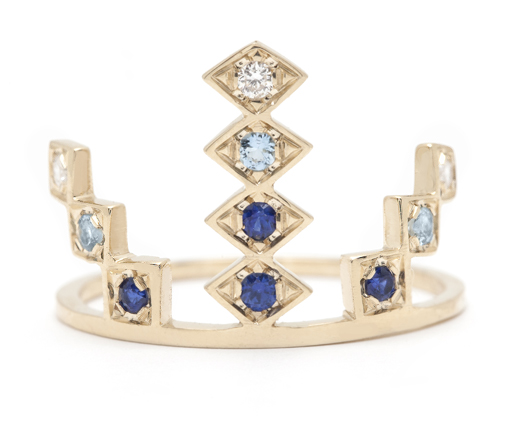 Azlee ring in 18k gold with blue sapphires, aquamarines, and diamonds