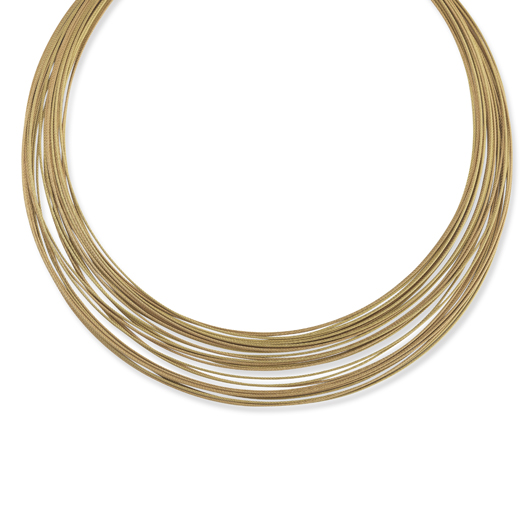 Micro Cable necklace in 18k gold and stainless steel for $495 by Alor