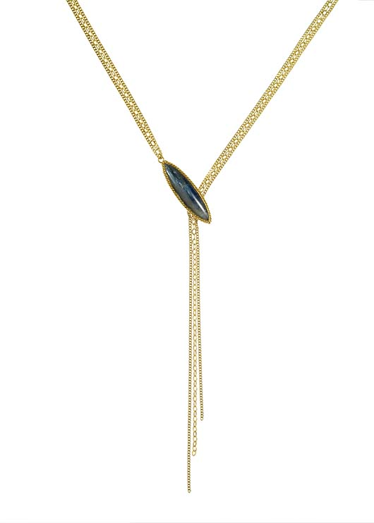 Amali gold necklace with kyanite