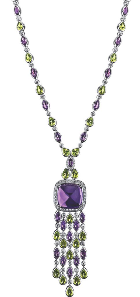 Necklace in 18k gold with amethyst, peridot, and diamonds from the Legacy collection from Roberto Procop and Brooke Shields