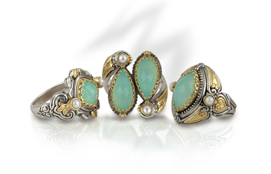 Rings in silver with 18k gold accents, sea blue agate, and freshwater pearls from Konstantino's new Amphirite collection