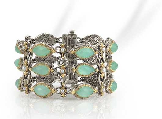 Bracelet in silver with 18k gold, sea blue agate, and freshwater pearls from Konstantino's new Amphitrite collection