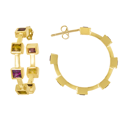 Hoop earrings in gold with rainbow-colored gems from Amy Glaswand