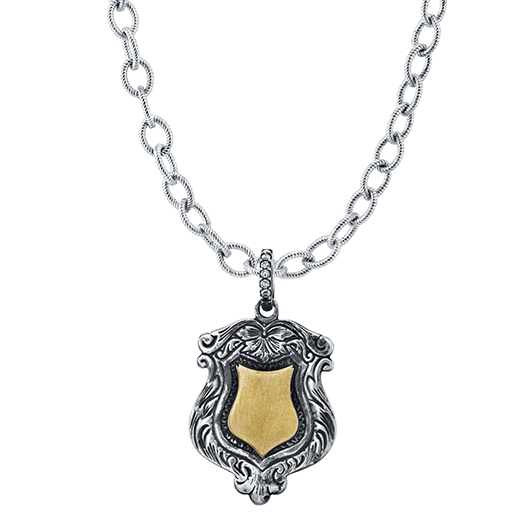 Sabrina pendant in silver and 18k gold with diamonds by Anabel Higgins Jewelry