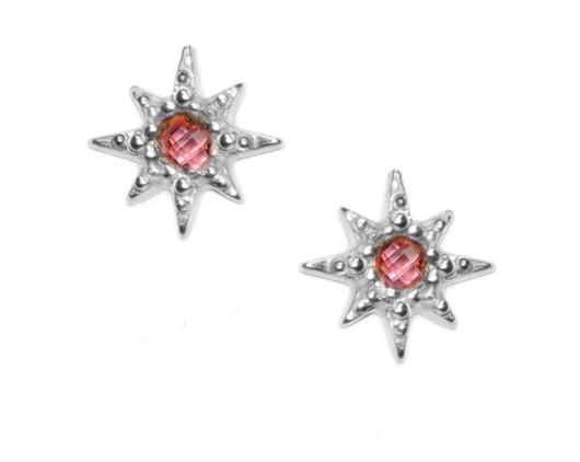 Anzie Jewelry's silver Micro Aztec Starburst studs with pink topaz benefit breast cancer research