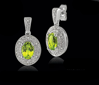 Ashi silver, peridot, and diamond earrings