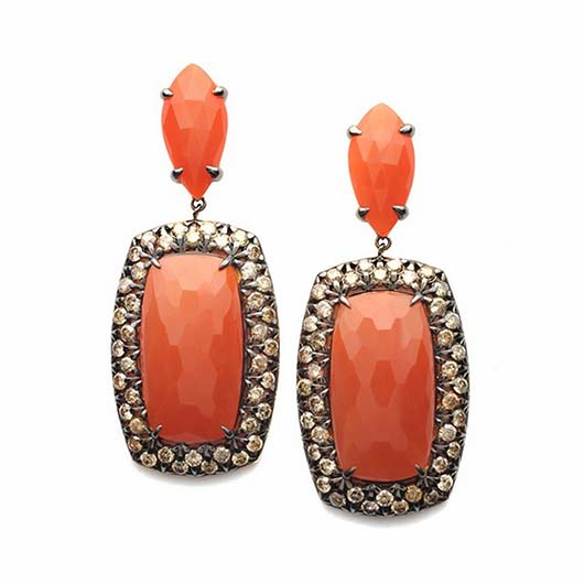 Vancox carnelian and diamond earrings