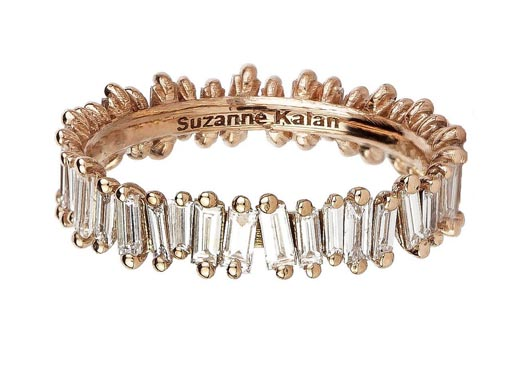 Band in 18k gold with baguette-cut diamonds from Suzanne Kalan