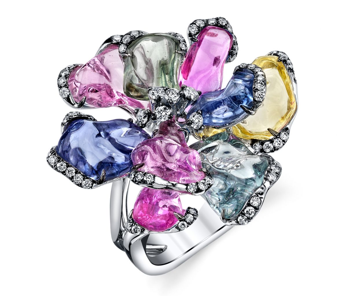 Parade Design tumbled sapphire bloom ring