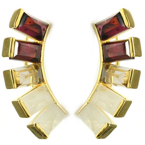 Belinda ear climbers in 18k gold vermeil with red garnet, moonstones, and rutilated quartz by Katie Diamond