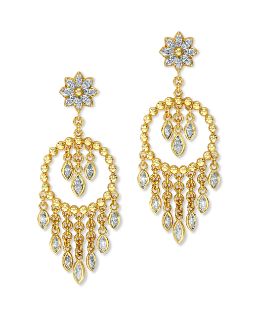 Marquise Beaded Hoop earrings in 20k gold with diamonds from Buddha Mama