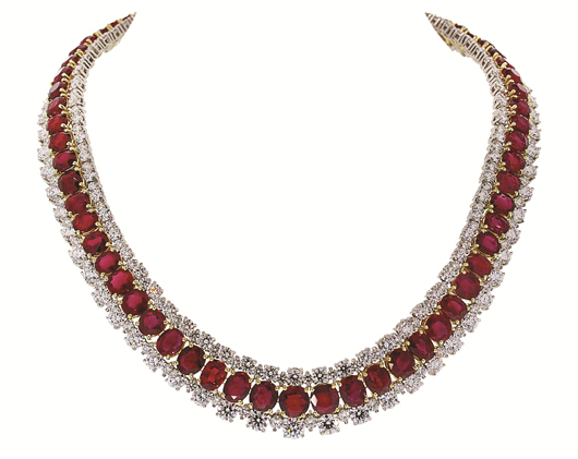 Burmese ruby necklace made by Black, Starr and Frost