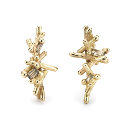 Studs in 14k gold with baguette-cut diamonds by Ruth Tomlinson