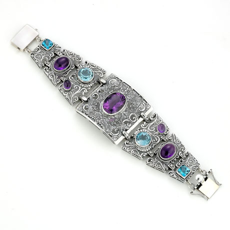 Bracelet in silver with blue topaz and amethyst by Samuel Behnam Jewelry