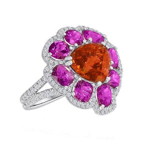 Bella Campbell Campbellian Collection Mandarin garnet and spinel ring in platinum