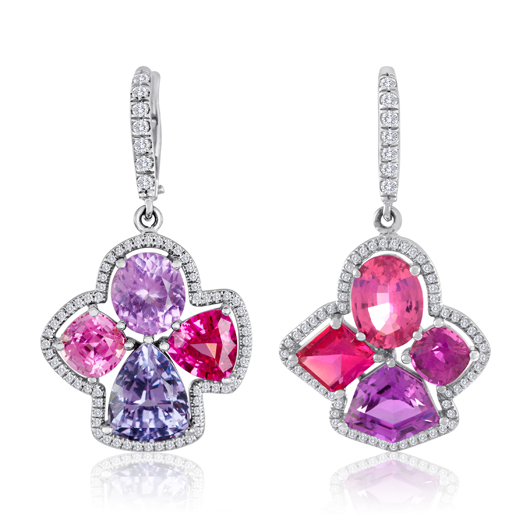 Earrings in 18k gold with 9.09 cts. t.w. purple, red, pink, and hot pink spinel and 2.03 cts. t.w. dark purple sapphires for $28,000 by Campbellian Collection