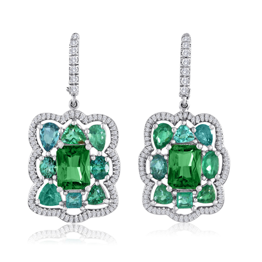 Earrings in 18k gold with 4.26 cts. t.w. tsavorites, 4 cts. t .w. Paraiba tourmalines, and 0.5 ct. t.w. diamonds for $39,700 by Campbellian Collection