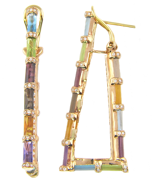 Earrings from Bellarri with rainbow-colored jewels