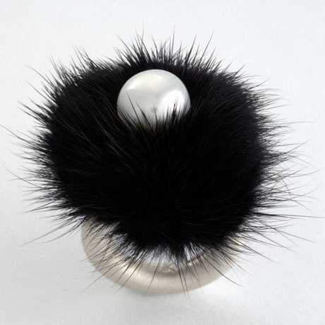 Stephen Kris black mink, silver, and freshwater pearl ring