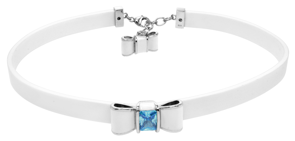 Belle Etoile rubber Bow choker with silver and stone